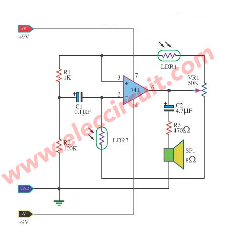 2 light controlled tone generator circuits eleccircuit comaudible light sensor using ic 741