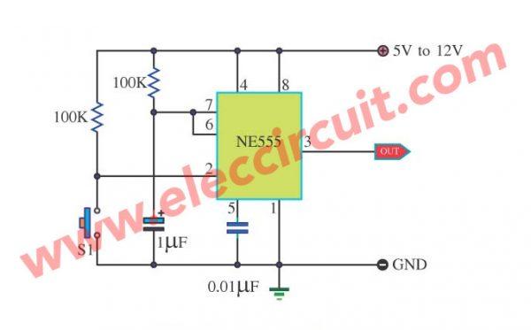 simple bounceless switch circuit using IC NE555
