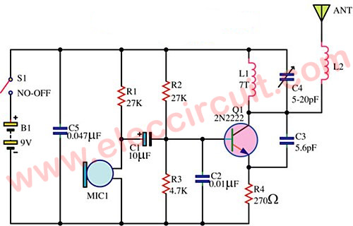Fm Wireless Transmitter Circuit on condenser mic circuit diagram 4