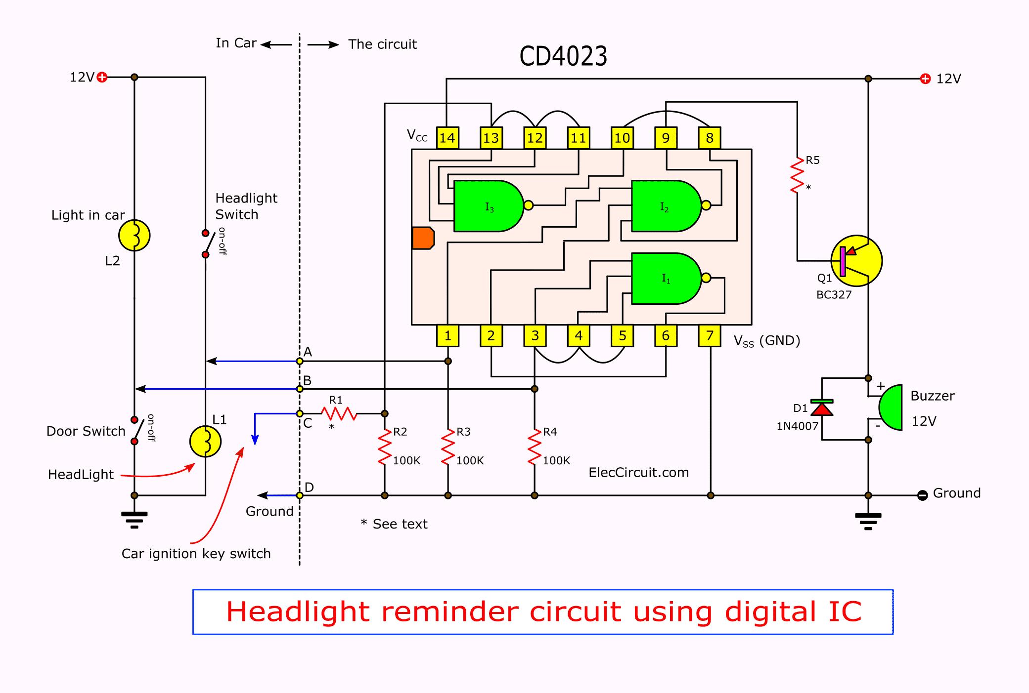 Car forgot turn off headlight alarm circuit