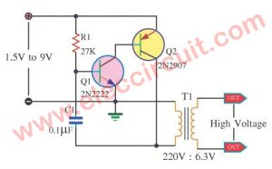 High Voltage mini power supply circuit using 2N2222