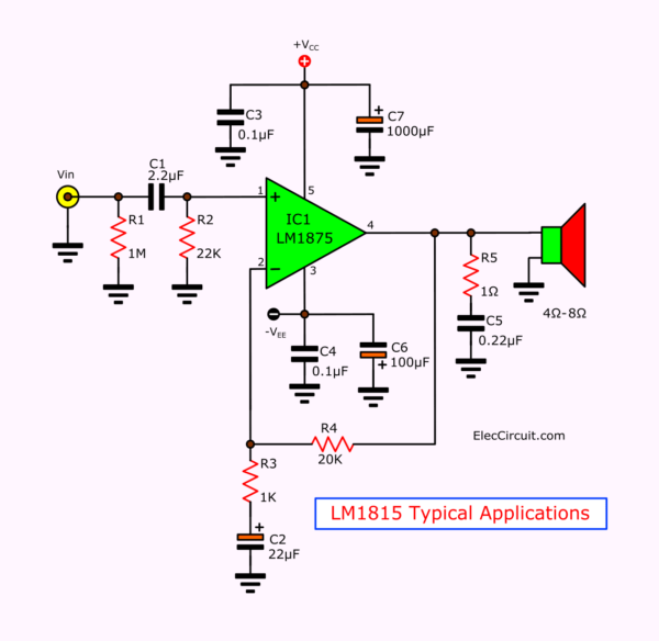 lm1875 circuit diagram typical applications