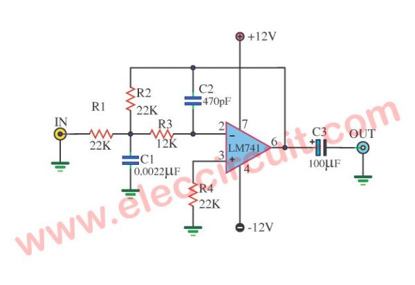 Low pass filter circuit 10KHz using uA741