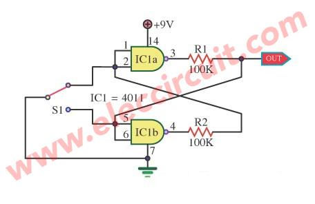simple bounceless switch circuit using IC4011