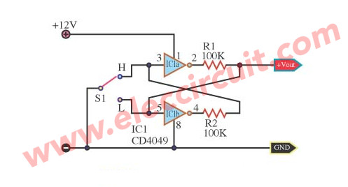 simple bounceless switch circuit using CD4049
