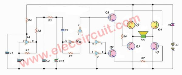 High power siren circuit using CD40106