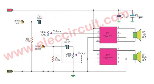Small stereo amplifier circuit using TDA7052