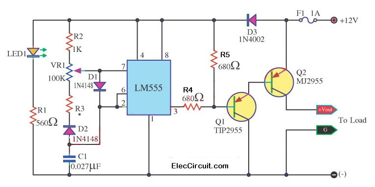 Spot Lamp Dc Dimmer Circuit Using Lm555