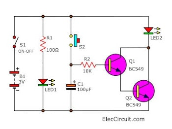 Timer set for 30 minutes using transistors