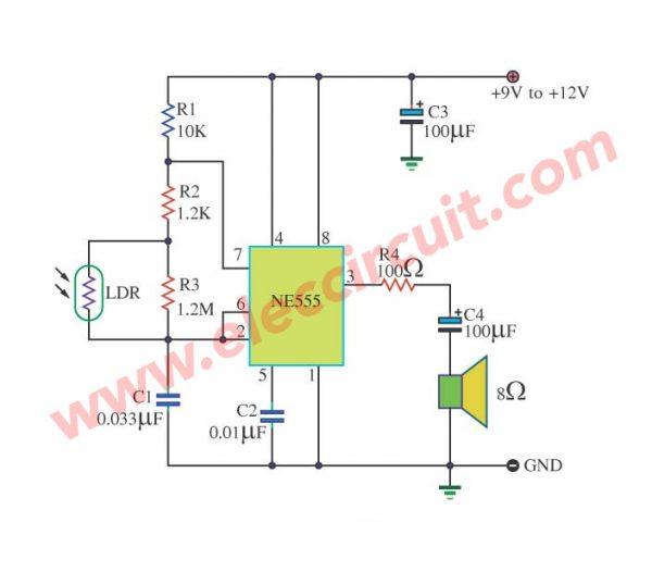 Tone Generator Control with light using IC 555
