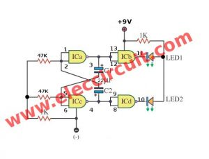 Two LED Flasher using Gate of IC 4011