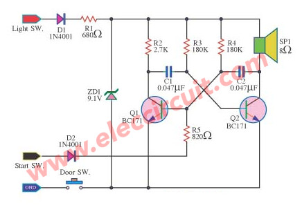 Headlight Warning Buzzer on simple burglar alarm circuit diagram