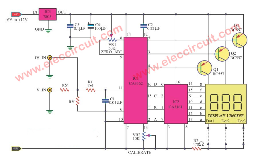 3 digit the cheap digital voltmeter using ca3162 and ca3161 simple digital voltmeter circuit diagram by ca3162 ca3161 12v voltmeter wiring diagram at gsmx.co