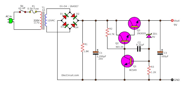 9V Regulator low current Supply