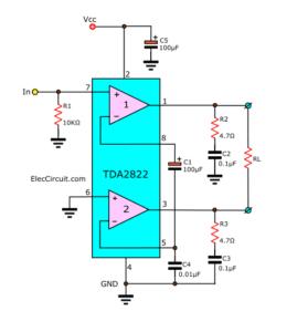 Bridge TDA2822 of typicla application circuit