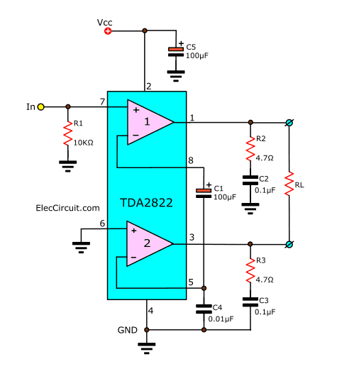Bridge TDA2822 of typicla application circuit