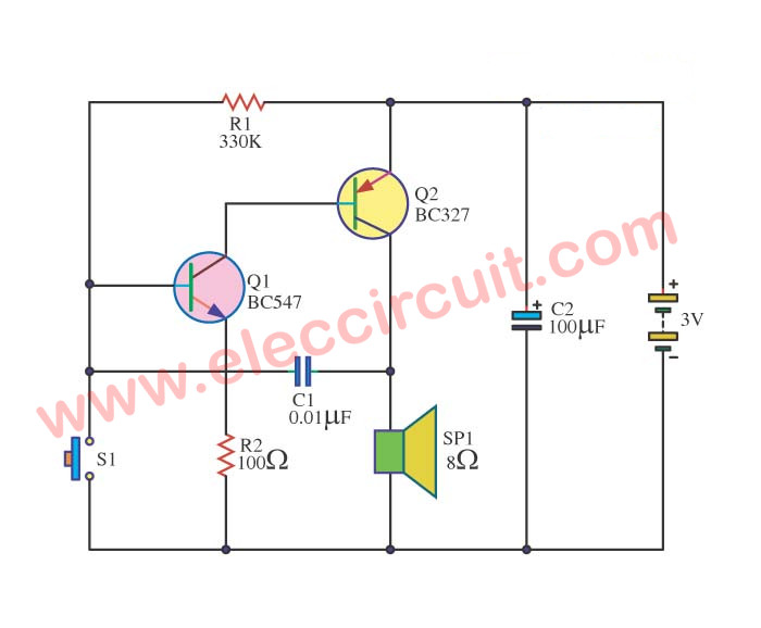 forget door alarm circuit eleccircuit com rh eleccircuit com door alarm system circuit diagram simple door alarm circuit diagram