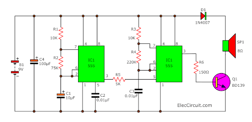 Make Police siren circuit using 555 timer, transistors and OP-Amp