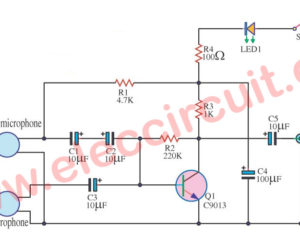 Simple dynamic and electret condenser microphone preamp circuit