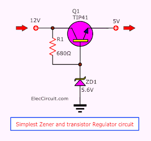 Simplest Zener and Transistor Regulator Circuit Diagram
