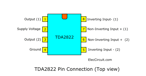 TDA2822 pinout connection