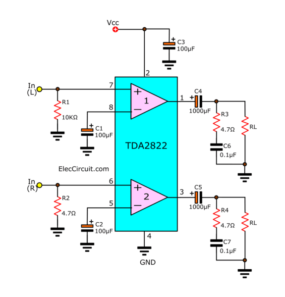 The stereo TDA2822 of typical application circuit
