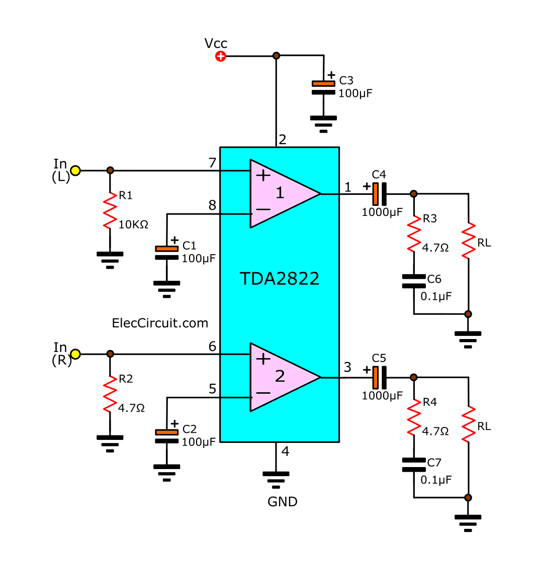 Tda2822 stereo amplifier datasheet eleccircuit the typical application stereo ccuart Choice Image