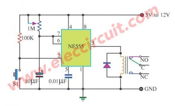 Basic Timer Control circuit using NE555