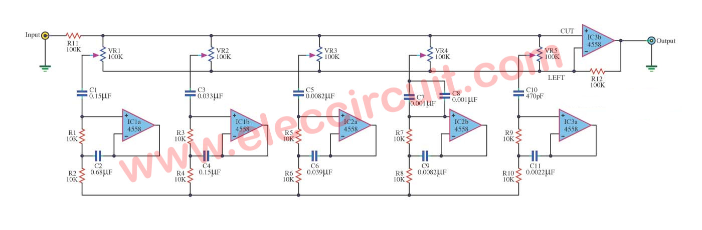 Graphic equalizer circuits with PCB layout for you | ElecCircuit com