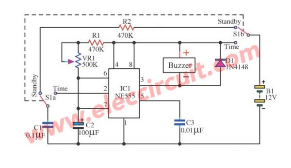 Egg timer circuits by IC-555