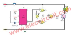 Door buzzer sound circuit using CD4001-CD4060
