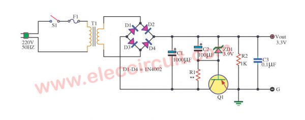 Schematic Diagram of Simple 3.3V Power Supply circuit @ 1A