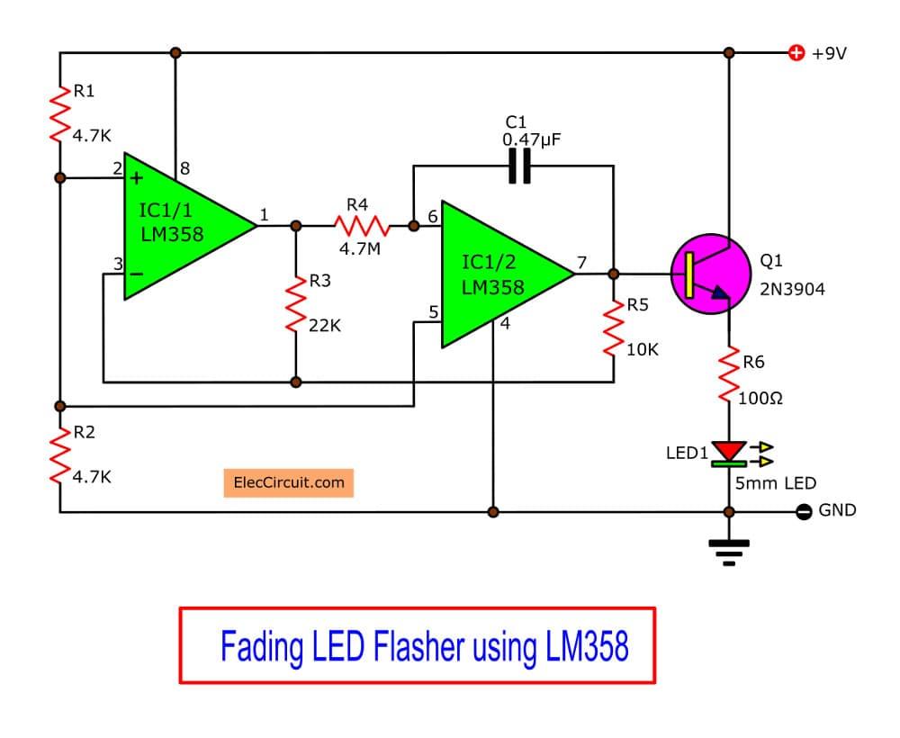 Fading LED Flasher using LM358