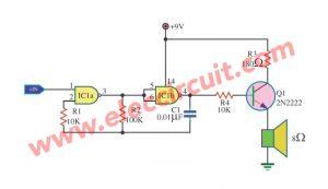 Simple Tone Generator Circuit using IC4011