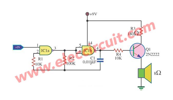 4 gate tone generator circuits using ic 4011 eleccircuit com rh eleccircuit com