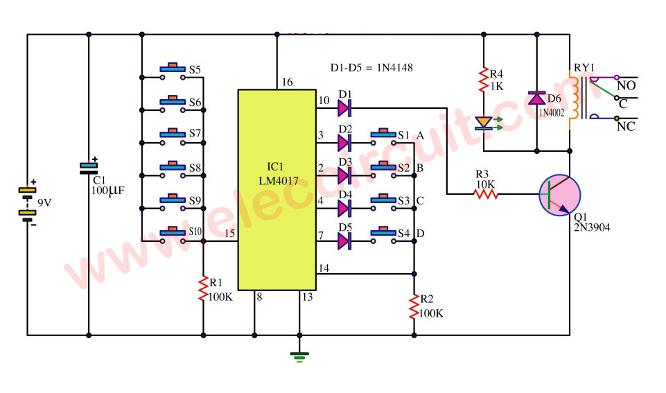 simple key code lock switch circuit using ic 4017. Black Bedroom Furniture Sets. Home Design Ideas