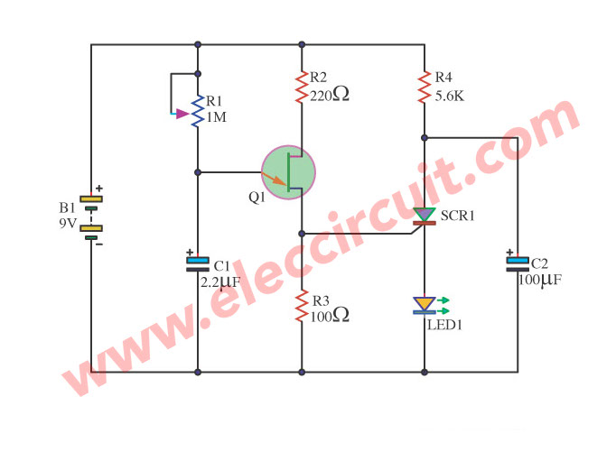 Scr Diagram http://www.eleccircuit.com/one-led-flasher-by-transistors-ujt-scr-lm358/