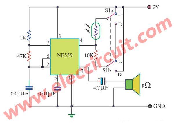 Light Dark Detector Alarm by IC 555