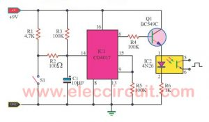 Bicycle distance meter circuit using 4N26,CD4017