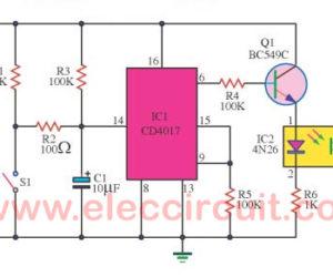 Bicycle distance meter circuit using 4N26,CD4017