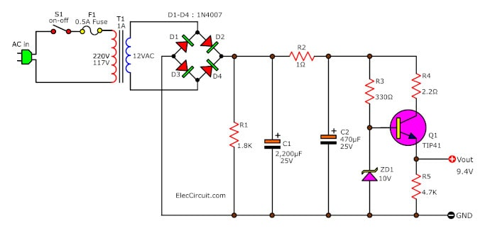 simple power supply diagram 9v regulated power supply circuit using transistors and zener  9v regulated power supply circuit using