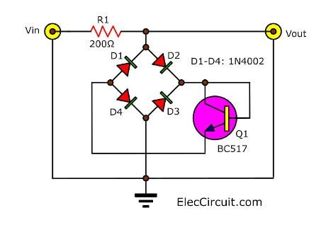 Simple audio signal overload protection circuit diagram