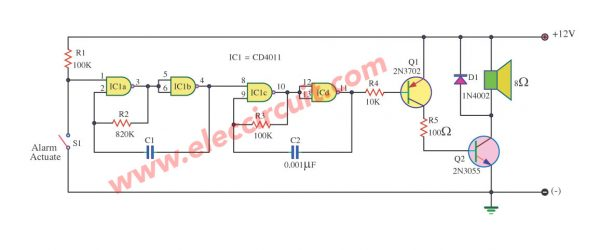Simple Sound Alarm Generator using CD4011
