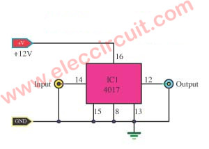 1 Hz Timebase circuit using IC-4017