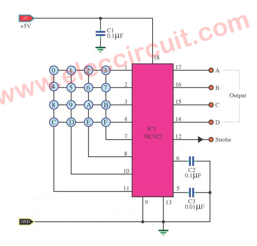 16 keys keyboard encoder circuit using 74C922N | ElecCircuit com