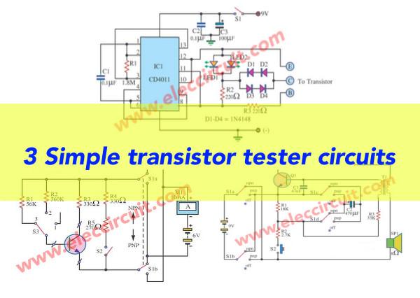 4 simple transistor tester circuits