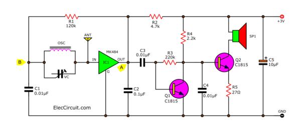 Headphone AM simplify radio circuit