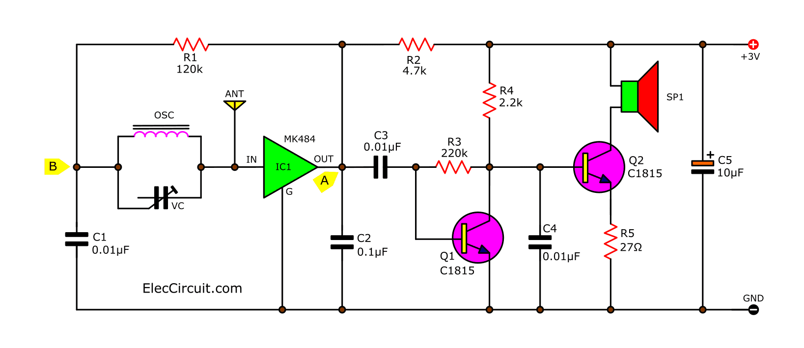 simple am radio receiver circuit earphone eleccircuit circuit diagram of am simplify radio earphone