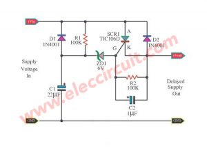 Delay to supply voltage for surge protector using SCR