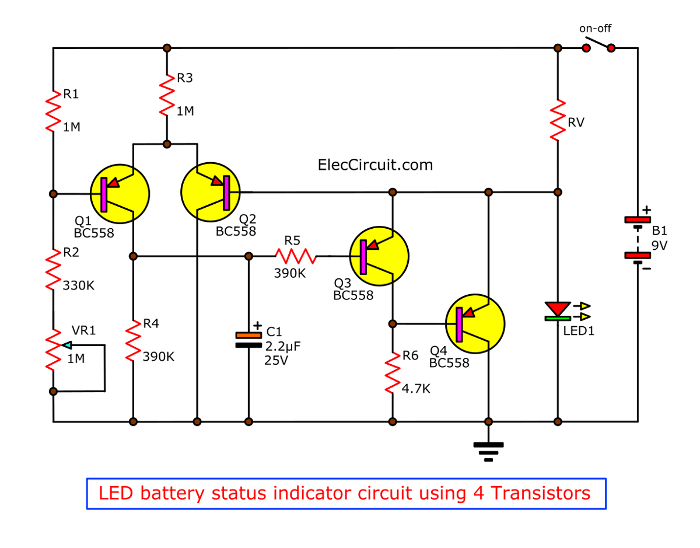 LED battery status indicator circuit using 4 Transistors